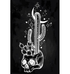 Hand drawn romantic drawing of skull with cactus vector