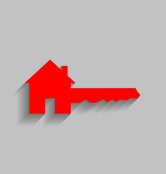 Home key sign red icon with soft shadow vector