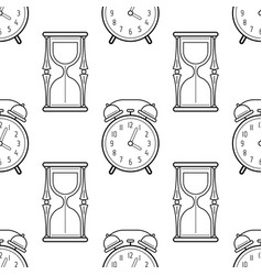 hourglass and alarm clock black and white vector image