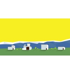 Houses on a background of mountains vector image