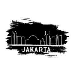 Jakarta skyline silhouette hand drawn sketch vector