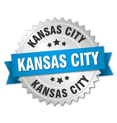 Kansas city round silver badge with blue ribbon vector