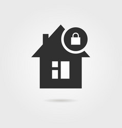 Locked home icon with shadow vector