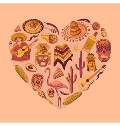Mexico love - heart with set vector image vector image