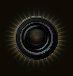 Modern camera icon with orange rays on dark vector