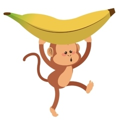 monkey with playful face and banana cartoon icon vector image