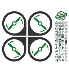 Quadcopter screws rotation icon with bonus vector