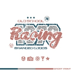 Racing emblem in retro style vector image vector image