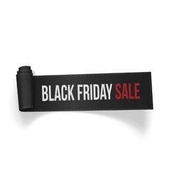 Realistic curved textile Ribbon Black Friday Sale vector image