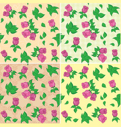 Seamless patterns with red roses and leaves vector