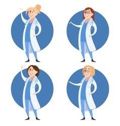 Set of doctor women vector image vector image