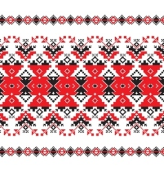 Set of ethnic ornament pattern in red and black vector