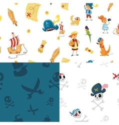 Set of seamless patterns for pirate party vector