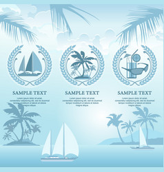 set of travel symbols in blue vector image vector image