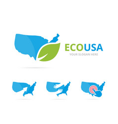 set of usa logo combination america and eco vector image vector image