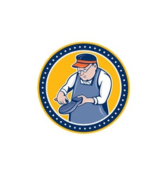Shoemaker cobbler circle cartoon vector