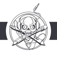 Skull designer black vector