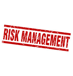 Square grunge red risk management stamp vector