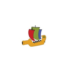 Wine bottle ship vector