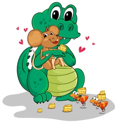 Crocodile and mouse vector image