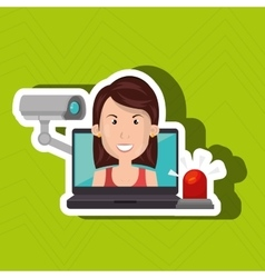 Woman laptop secutiry save vector