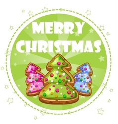 Collection greeting card christmas trees cookies vector