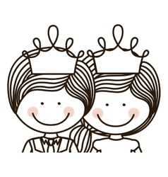 Silhouette half body girl and boy with crown vector