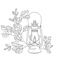 A old petrol lamp with white background vector