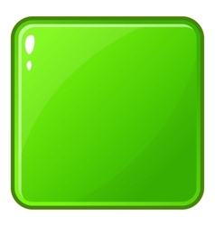 Green glossy button icon cartoon style vector