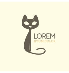 Cat logo emblem template with cat silhouette vector