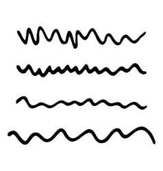 Strokes marker set abstract wavy line black vector