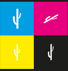 Cactus simple sign  white icon with vector