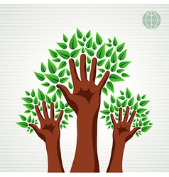 Green tree hands set vector