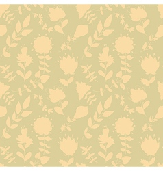 Neutral floral wallpaper plant swirls and curves vector