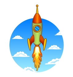 Vintage old rocket on a sky background vector image