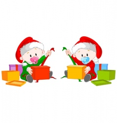 Christmas twins open gift vector