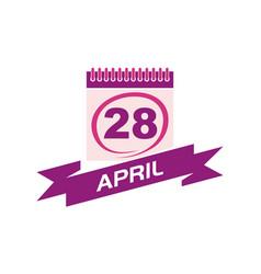 28 april calendar with ribbon vector