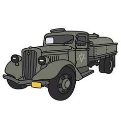 Old military tank truck vector