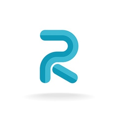Letter r logo flat bevel technical style vector