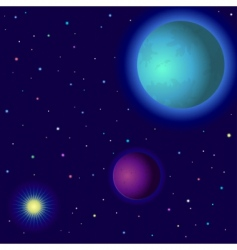 Space planets and sun vector