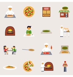 Pizzeria icons set vector