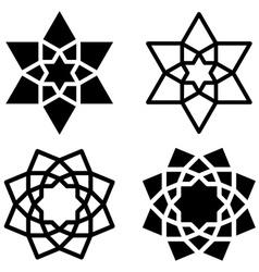 Black star flower symbols vector
