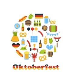Oktoberfest colorful symbols in round frame vector