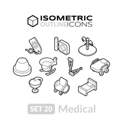 Isometric outline icons set 20 vector