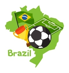 Stylized map of brazil with soccer ball and flag vector