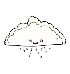 Comic cartoon rain cloud vector