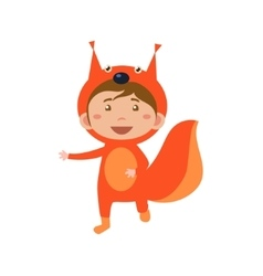 Child wearing costume of squirrel vector