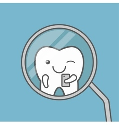 Cute tooth makes selfie vector