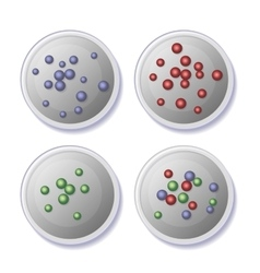 Petri dishes with bacteria icons set vector
