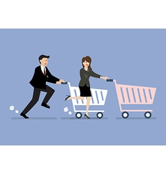 Business man and woman are shopping with a cart vector